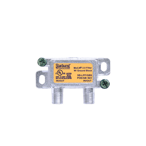 SB-LPF/GB MoCA 2.0 High Performance POE Filter With Ground Block And Surge Protector For Ethernet Over Coax Universal Home Networking