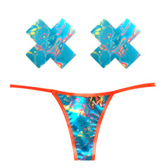 Tropical Skittles Orange UV G-String Naughty Knix Pasties & Panties Set