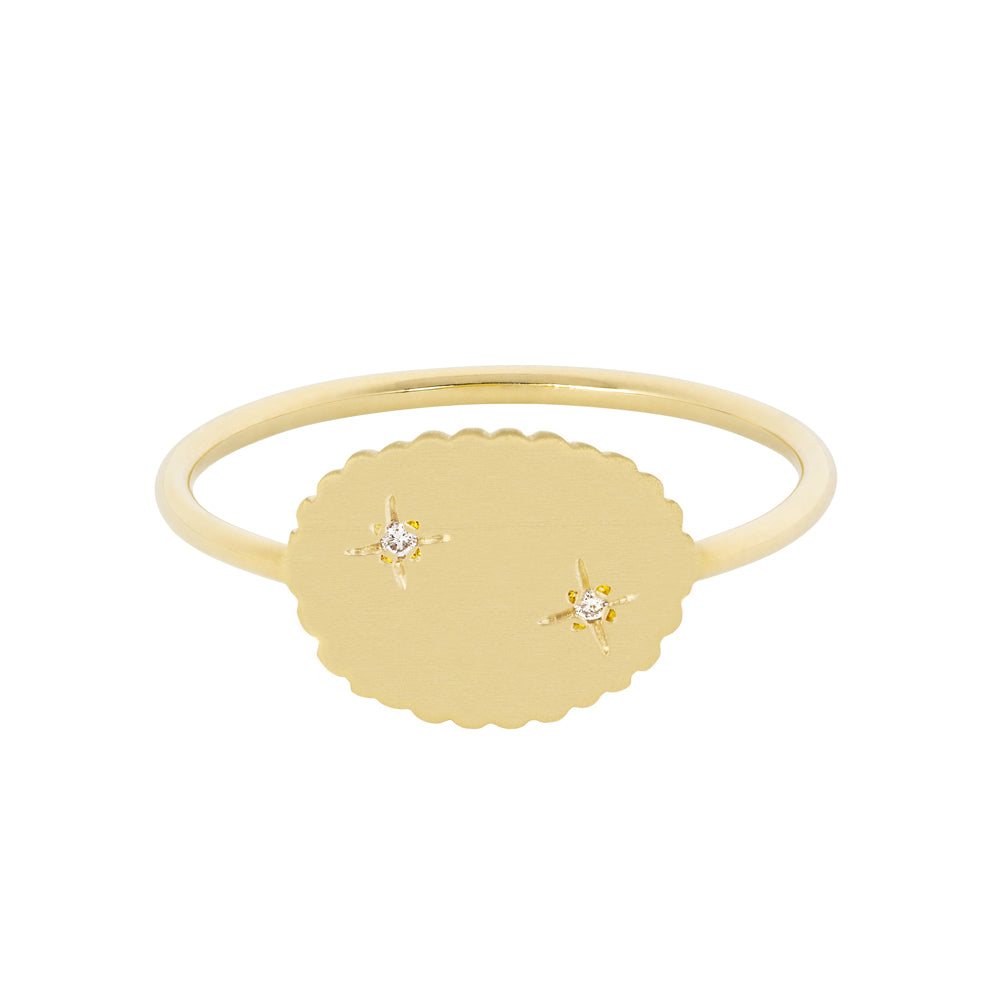 The Bubble Signet Ring-2 diamonds | Hortense Jewelry - handcrafted 14k gold ring, exquisite 14k gold ring, minimalist 14k gold ring