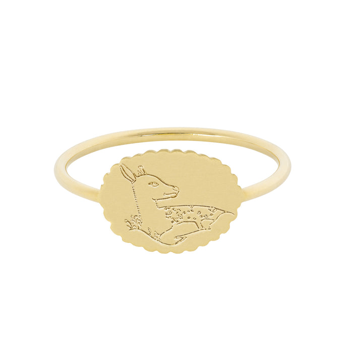 The Bubble Signet Ring-Deer or Lambs | Hortense Jewelry - handcrafted 14k gold ring, exquisite 14k gold ring, minimalist 14k gold ring