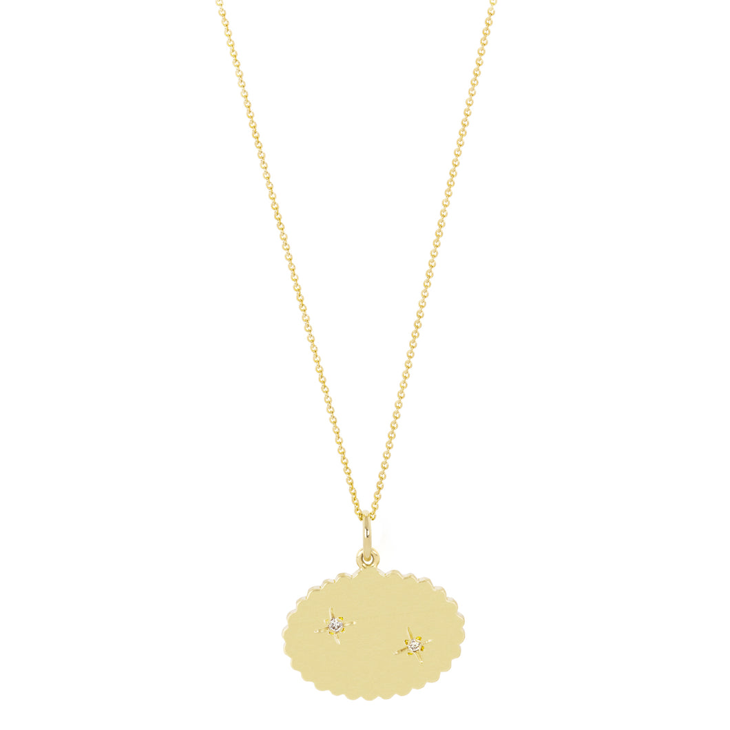 The Bubble Signet Necklace-2 diamonds | Hortense Jewelry - 14k yellow gold diamond pendant necklace, diamond heart pendant 14k yellow gold, diamond heart necklace rose gold, white gold teardrop necklace