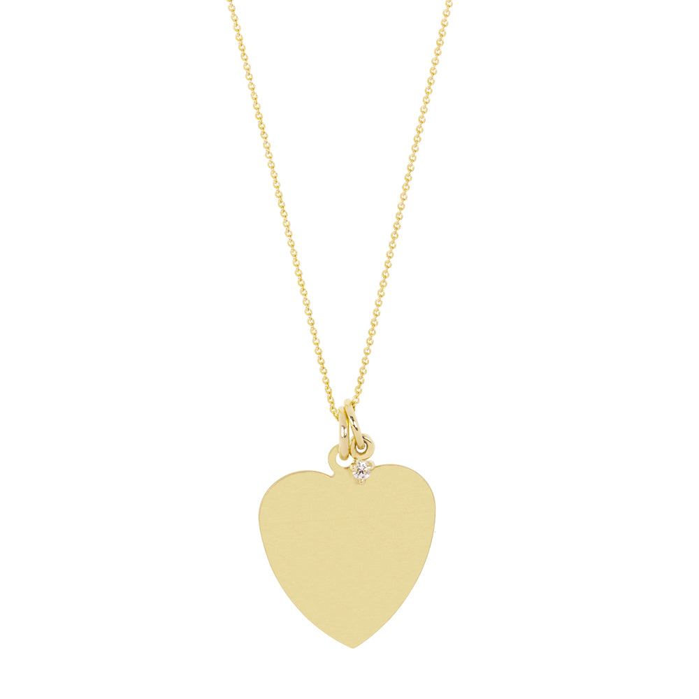 The Big Heart necklace-Customizable-with or without diamond | Hortense Jewelry - 14k yellow gold diamond pendant necklace, diamond heart pendant 14k yellow gold, diamond heart necklace rose gold, white gold teardrop necklace