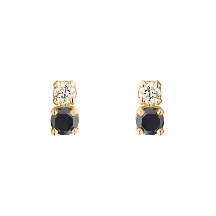 Double D Black and White Diamond Errings | Hortense Jewelry - 14k yellow gold diamond earrings, round diamond earrings white gold, pure gold designer earrings