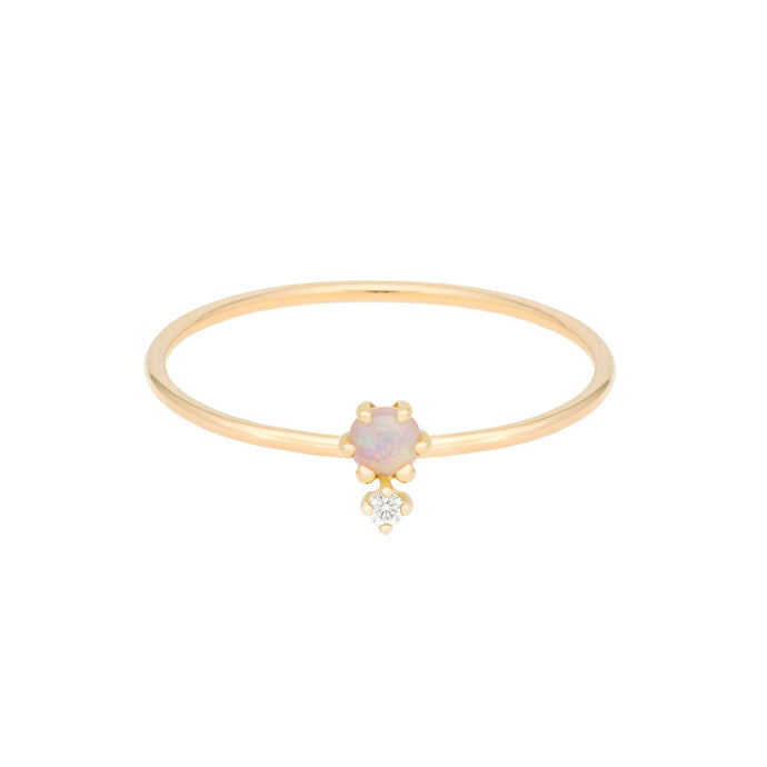 """Petite Cherie DUO"" Opal-White Diamond ring 14KYG SIZE 4.5 