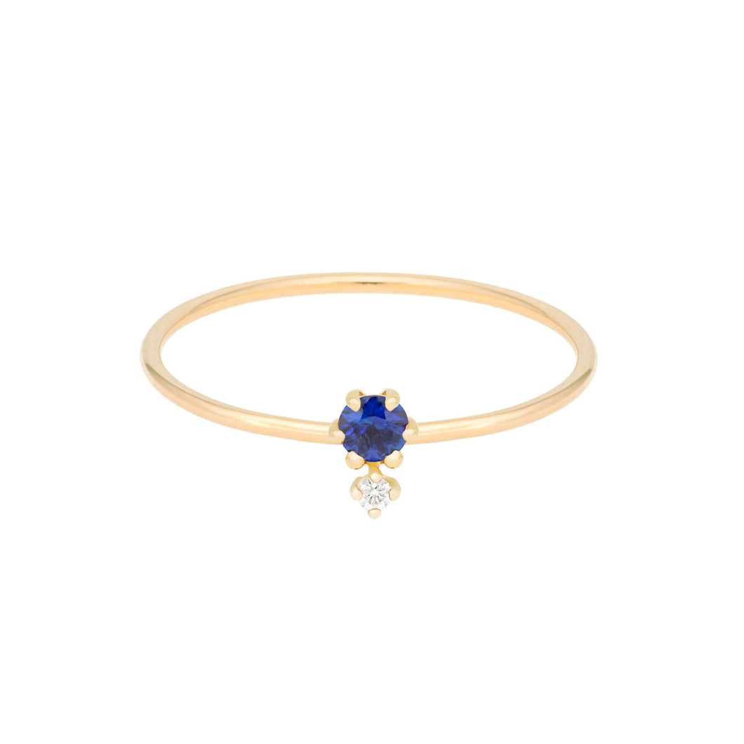 """Petite Cherie DUO""-Deep blue diamond cut sapphire+white diamond ring 14KYG SIZE 4.5 Sapphire 