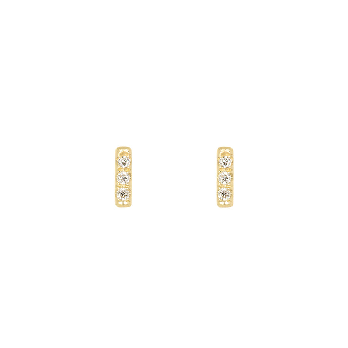 Tic Tac earrings with diamonds | Hortense Jewelry - 14k yellow gold diamond earrings, round diamond earrings white gold, pure gold designer earrings