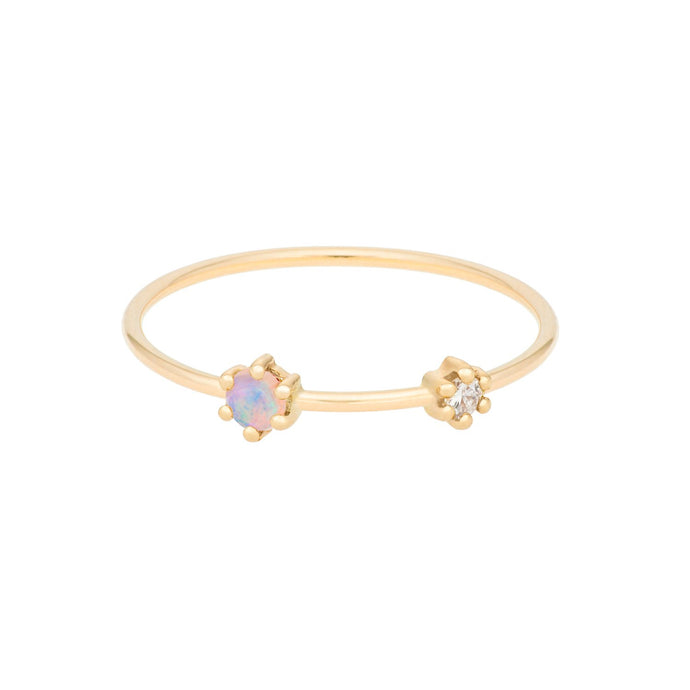 """Darling"" Opal+Diamond ring 14YG SIZE 4.5 