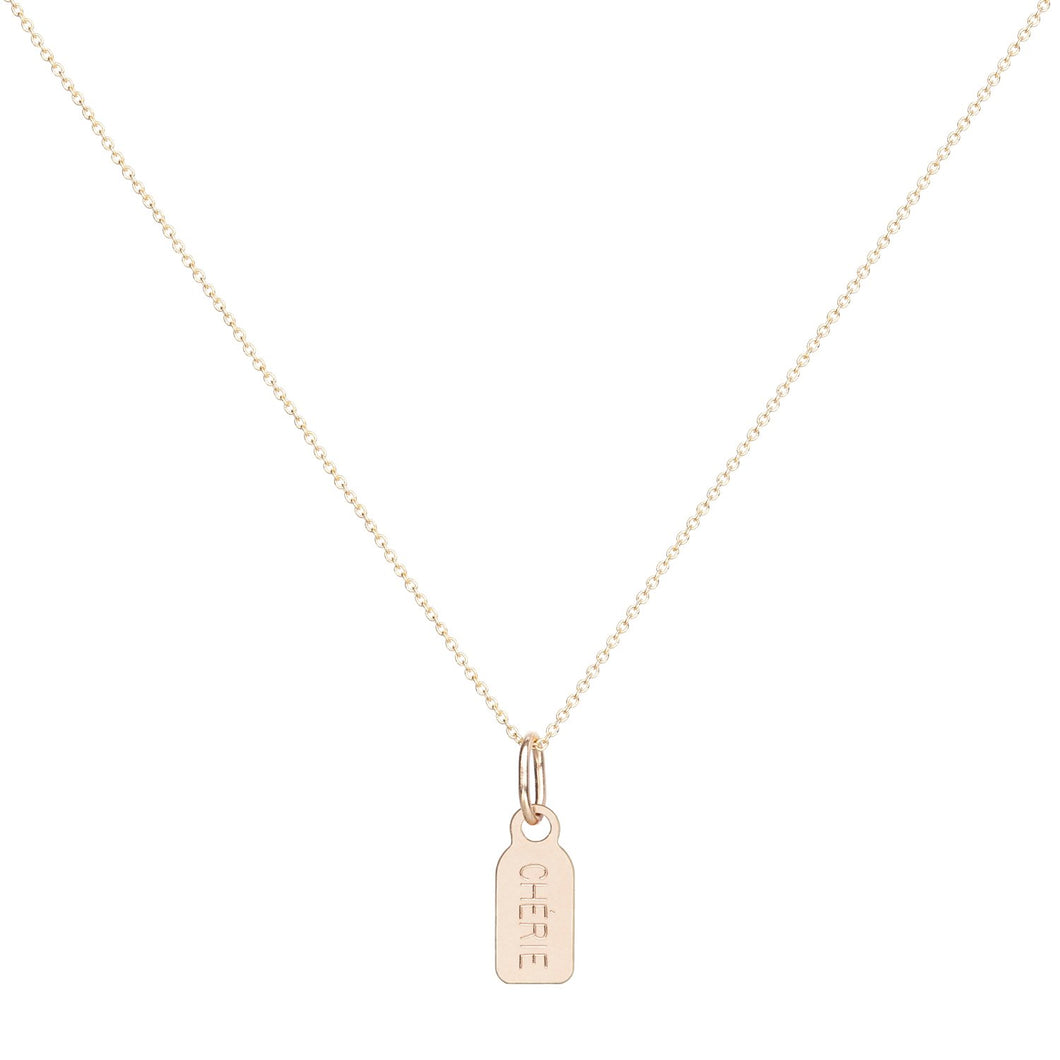 Single Tag Necklace-Cable Chain 14KYG chain 18