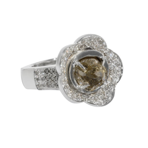White Gold Flower Ring