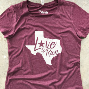 Love to Run - Texas - White Ink