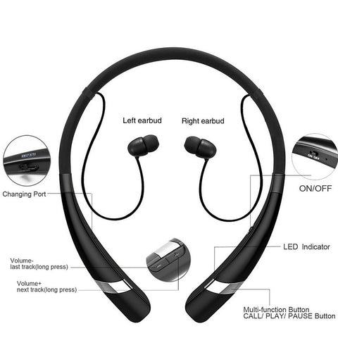 Sweatproof Bluetooth Headphone  Hv-960 Wireless Earphone Neckband Headsets Sport Devices