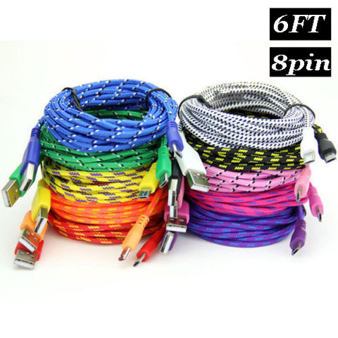 6ft 2m Long Nylon braided fabric rugged usb cbale for iphone