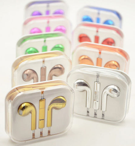 Image of chrome plated oem  eapods for iphone earphones earbuds handsfree for ipod wired