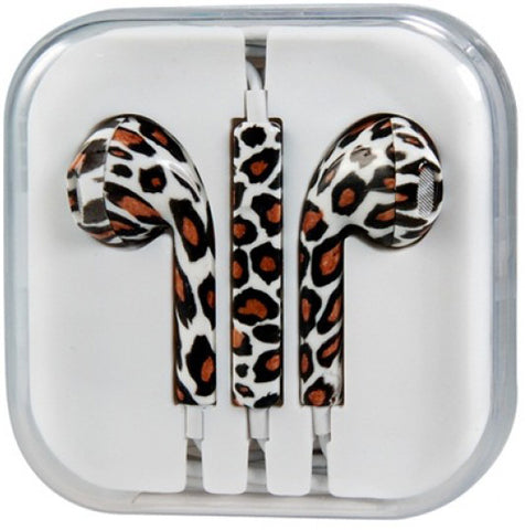 Image of oem earphone earbuds pods leopard zebra print for iPhone