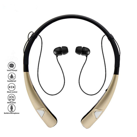 Sleek HV-980 Bluetooth Headphones Wireless Neckband Headset HandsFree Stereo Earphones Noise Canceling with Mic