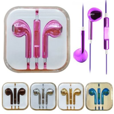 Image of electroplated earphones oem EarPods chrome plated gold for iPhone ipod ipad mic and volume control remote