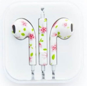 Printed Earphones earbuds with Volume Control & Mic for iPhone