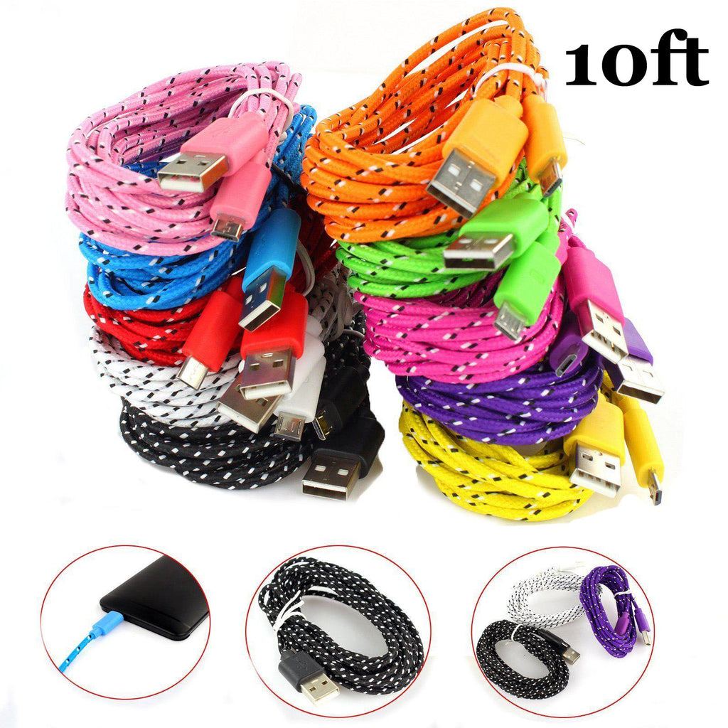 10ft long Braided USB data Cable charger for iPhone Android V8 Type C