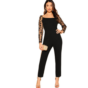 Black Sexy Mesh Flower  Jumpsuit