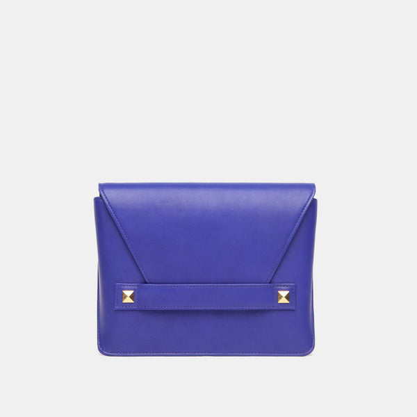Starlet Studded Italian Leather Clutch In Cobalt