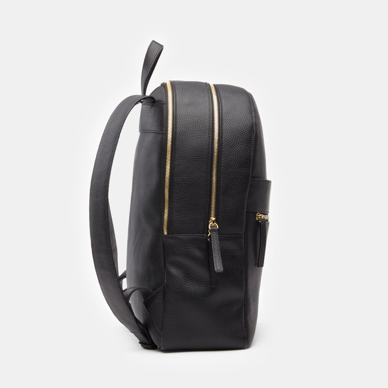 Brooklyn Italian Leather Backpack in Black