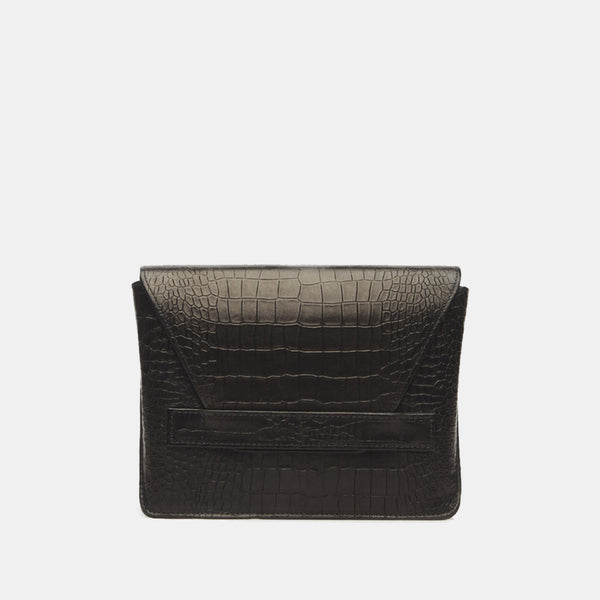 Starlet Italian Leather Clutch in Black Embossed Croc