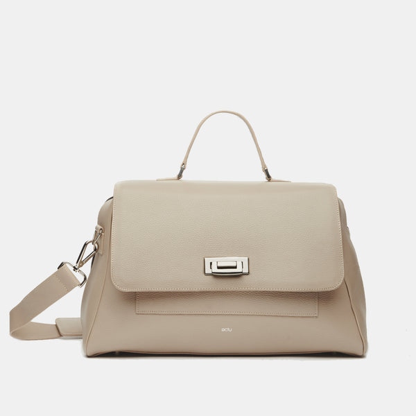 Palermo Italian Leather Weekender in Sand