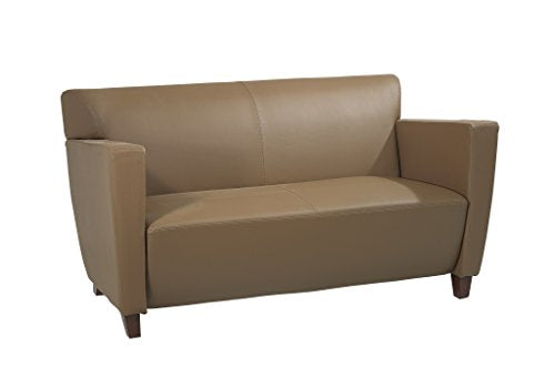 Office Star Modern Taupe Leather Love Seat with Cherry Finish Legs