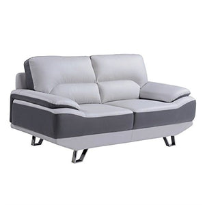 Atlin Designs Leather Loveseat in Gray