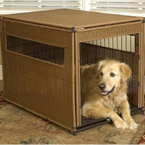 Wicker Dog Crate - Large/Dark Brown