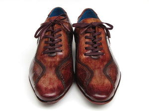 Paul Parkman Men's Handmade Lace-Up Casual Shoes For Men Brown Hand-Painted Leather Upper and Leather Sole
