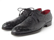 Load image into Gallery viewer, Paul Parkman Men's Black Genuine Ostrich Derby Shoes (ID#33B76)