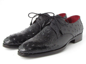 Paul Parkman Men's Black Genuine Ostrich Derby Shoes (ID#33B76)