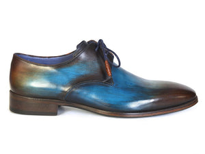 Paul Parkman Men's Blue & Brown Hand-Painted Derby Shoes (ID#326-BLU)