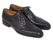 Load image into Gallery viewer, Paul Parkman Black Genuine Python Captoe Oxfords (ID#PT246BLK)