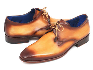 Paul Parkman Men's Brown & Camel Hand-Painted Derby Shoes (ID#326-CML)