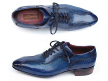 Load image into Gallery viewer, Paul Parkman Men's Handmade Lace-Up Casual Shoes For Men Blue