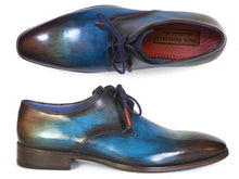Load image into Gallery viewer, Paul Parkman Men's Blue & Brown Hand-Painted Derby Shoes (ID#326-BLU)