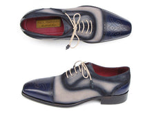 Load image into Gallery viewer, Paul Parkman Men's Captoe Oxfords - Navy / Beige Hand-Painted Suede Upper and Leather Sole (ID#024)