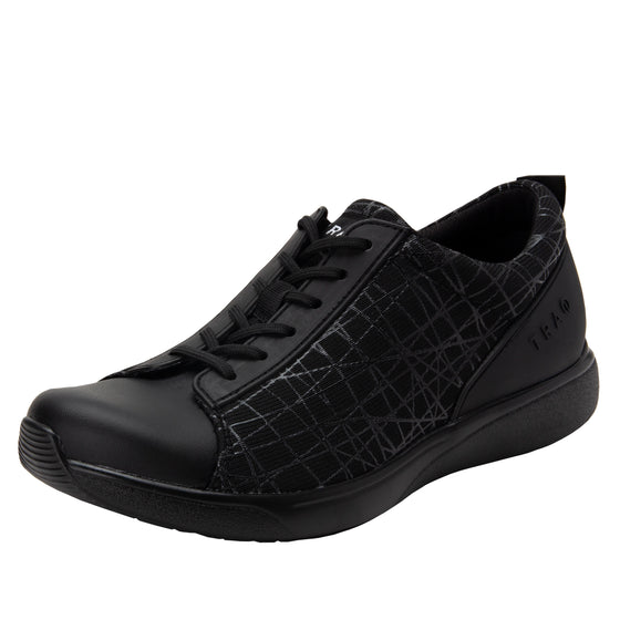Qest Intersection Black lace up smart shoes with q-chip technology. QES-5011_S1