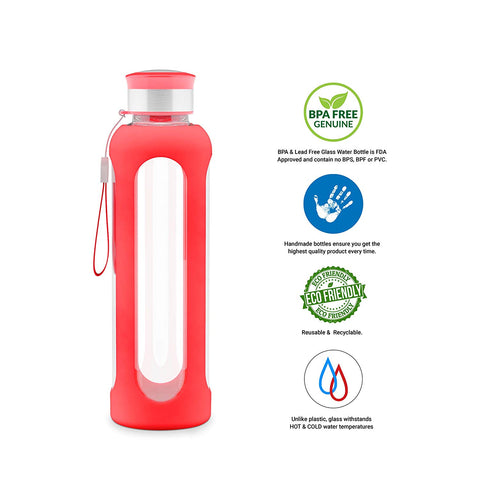 GEO 16 oz Glass Water Bottle w/Silicone Protective Sleeve