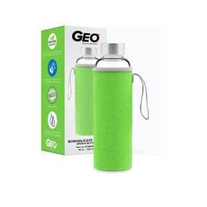 GEO 18 oz Glass Leak-Proof Water Bottle w/Silicone Protective Sleeve