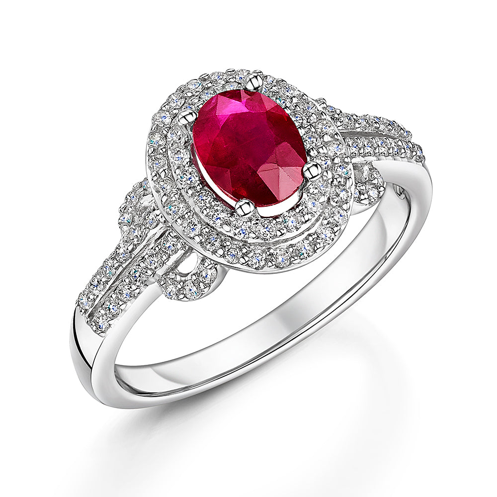 Modern style ruby and diamond cluster ring (Size N)