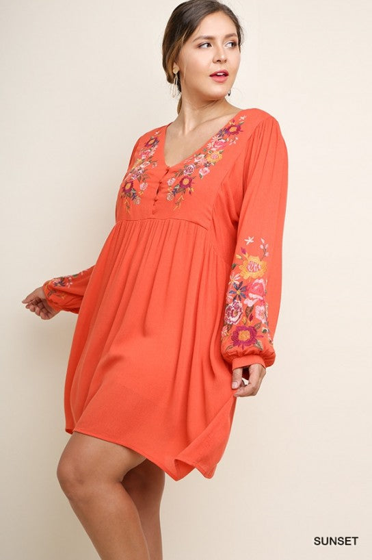 Sunset Floral Embroidered Dress- Plus Size