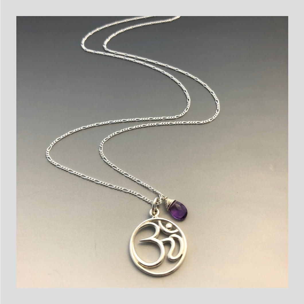 Peace in Music Large Ohm Amethyst Sterling Silver Necklace