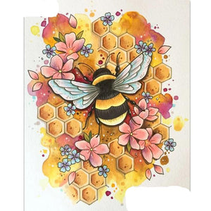 """Flower bee"" Diamond Painting Kit, CUTE! - Round & Square available -Diamond Paintings, Diamond Paintings Store"