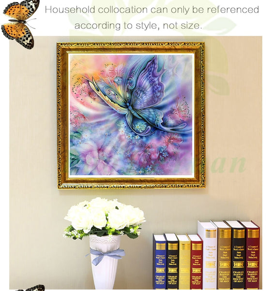 Butterfly Flowers,  Crystal Diamond Painting, full drill or round - On Sale -Diamond Paintings, Diamond Paintings Store