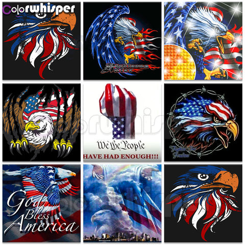 Patriotic Eagle Diamond Painting Kits,  Full Square/Round Drill American Flag | 6 Designs to Choose -Diamond Paintings, Diamond Paintings Store