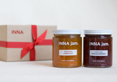 Two Jam Gift Set! This gift includes two 10oz jars of INNA jam packaged in an elegant gift box. Our jam is made from organic produce from sustainable farms within 150 miles of Emeryville, California.