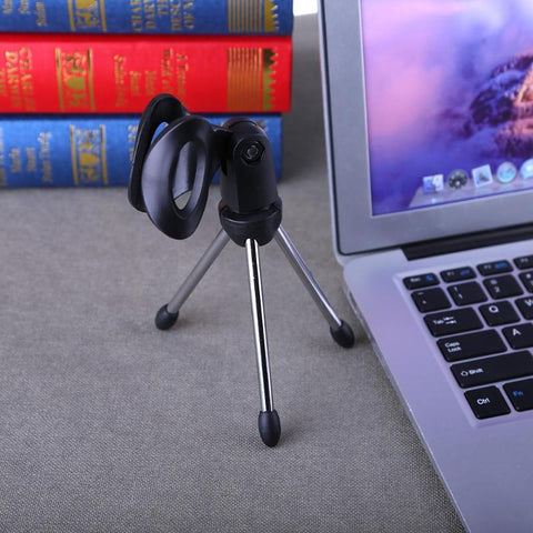 Alloyseed Mini Portable Table Tops Microphone Tripod Zinc Alloy Mic Stand Bracket Desktop Adjustable